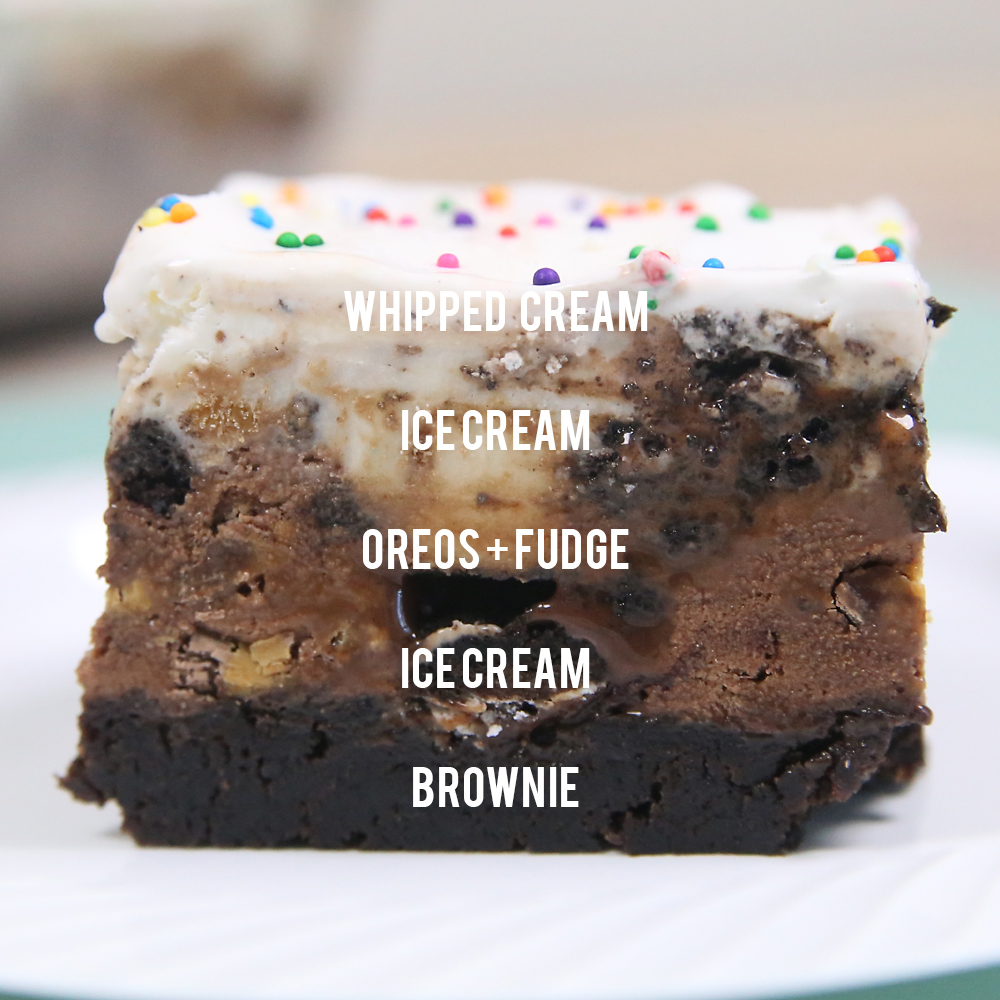 Brownie bottom ice cream cake is an easy frozen dessert that tastes amazing! Fun recipe for birthday parties because it serves a crowd. Easy summer treat recipe.