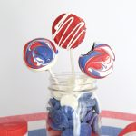 red, white, and blue Oreo pops for July 4th