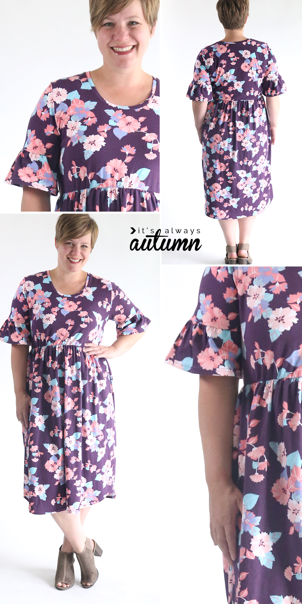 Learn how to sew a cute ruffle sleeve (bell sleeve) dress using just a tee shirt pattern! Easy sewing tutorial. How to make a dress.