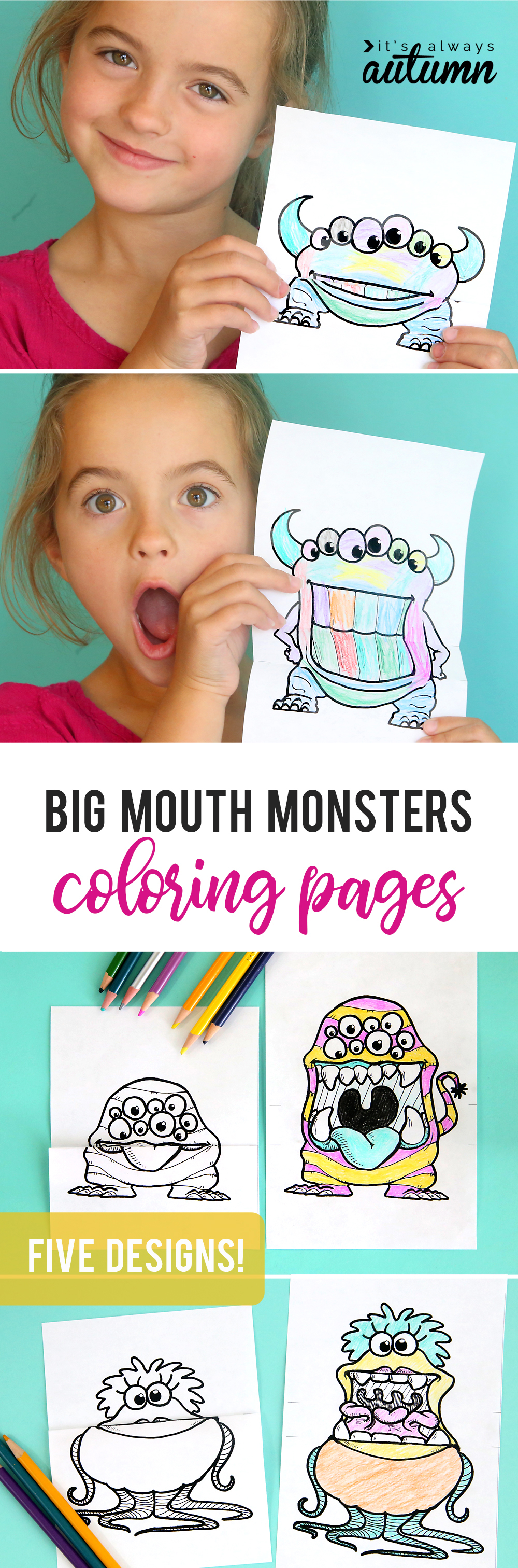 printable big mouth monster coloring