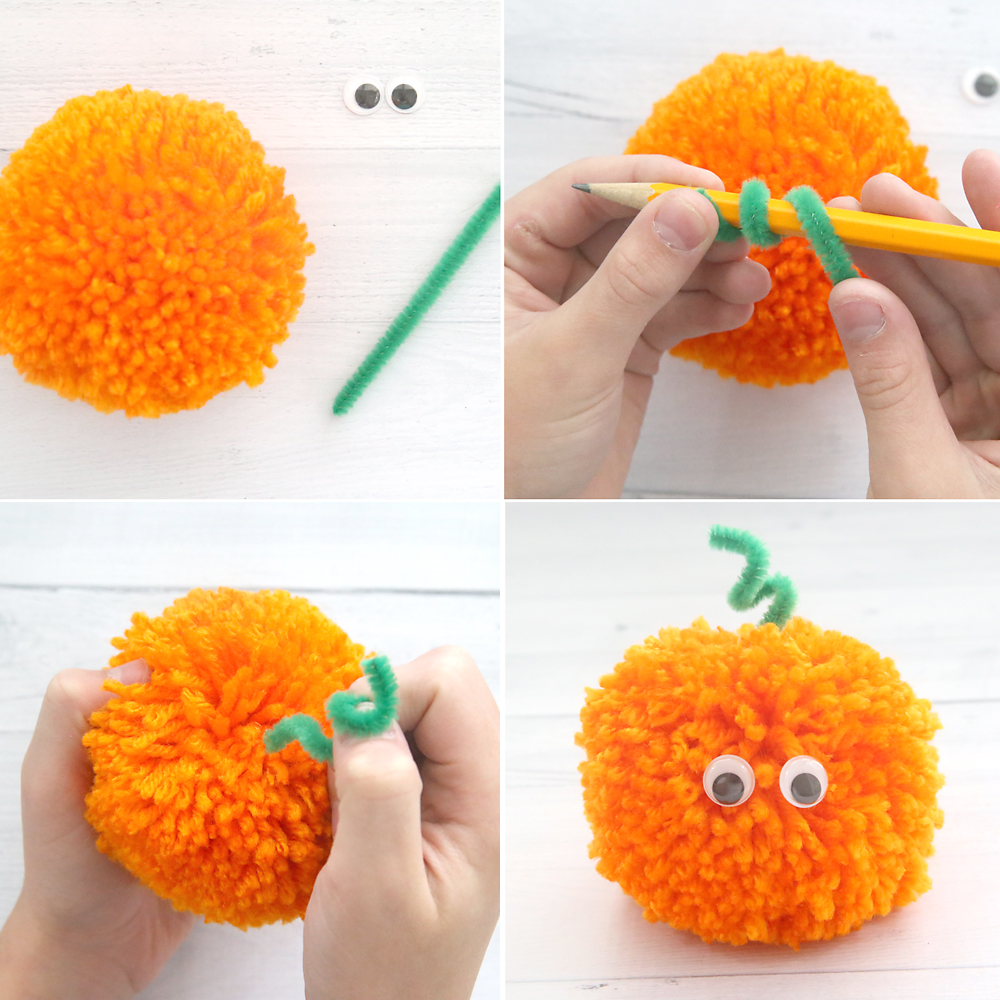 How cute! Halloween pom pom pals: kids can use yarn, pipe cleaners, and googly eyes to make fun Halloween decorations. Easy kids' craft for Halloween.