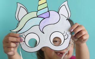 unicorn masks to print and color {free printable}