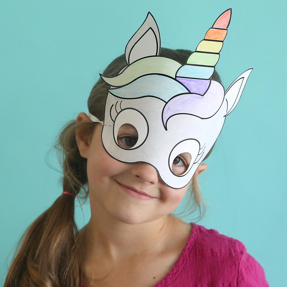 unicorn masks to print and color