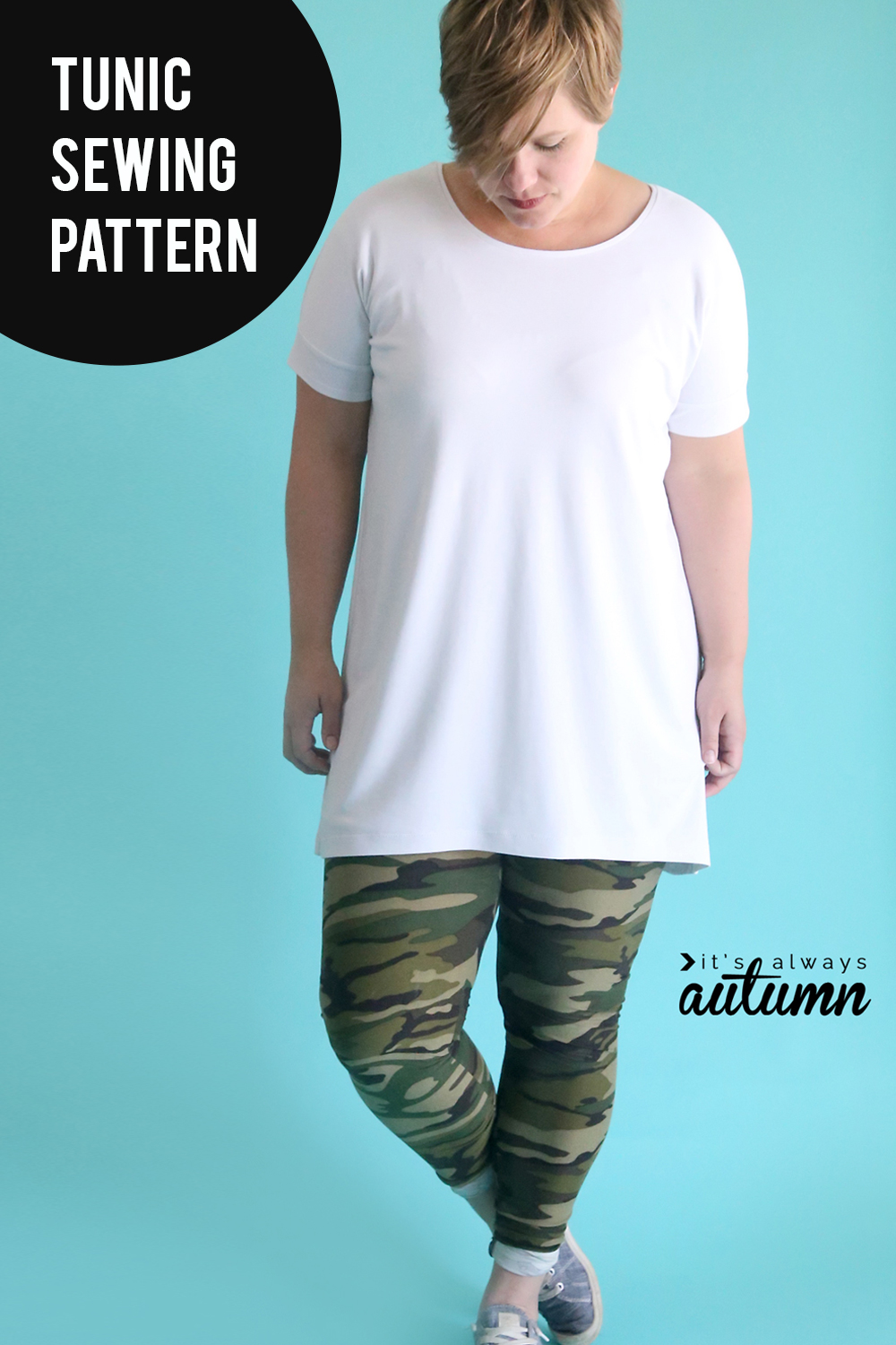 Learn how to sew a long shirt to wear with leggings with this tunic sewing pattern and tutorial.