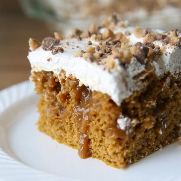 Caramel pumpkin poke cake is the perfect fall dessert. Quick + easy recipe.