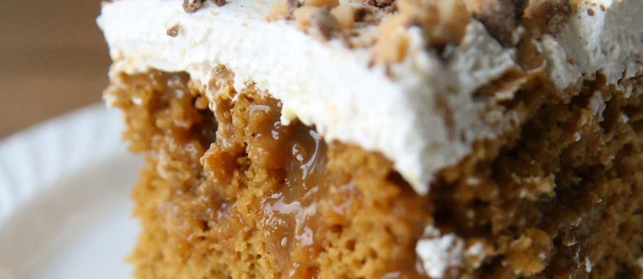 quick + easy caramel pumpkin poke cake recipe