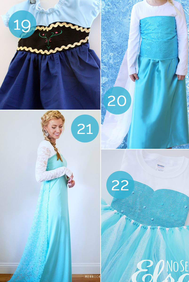 how to make a diy frozen Halloween costume - ideas for both Anna and Elsa costumes!