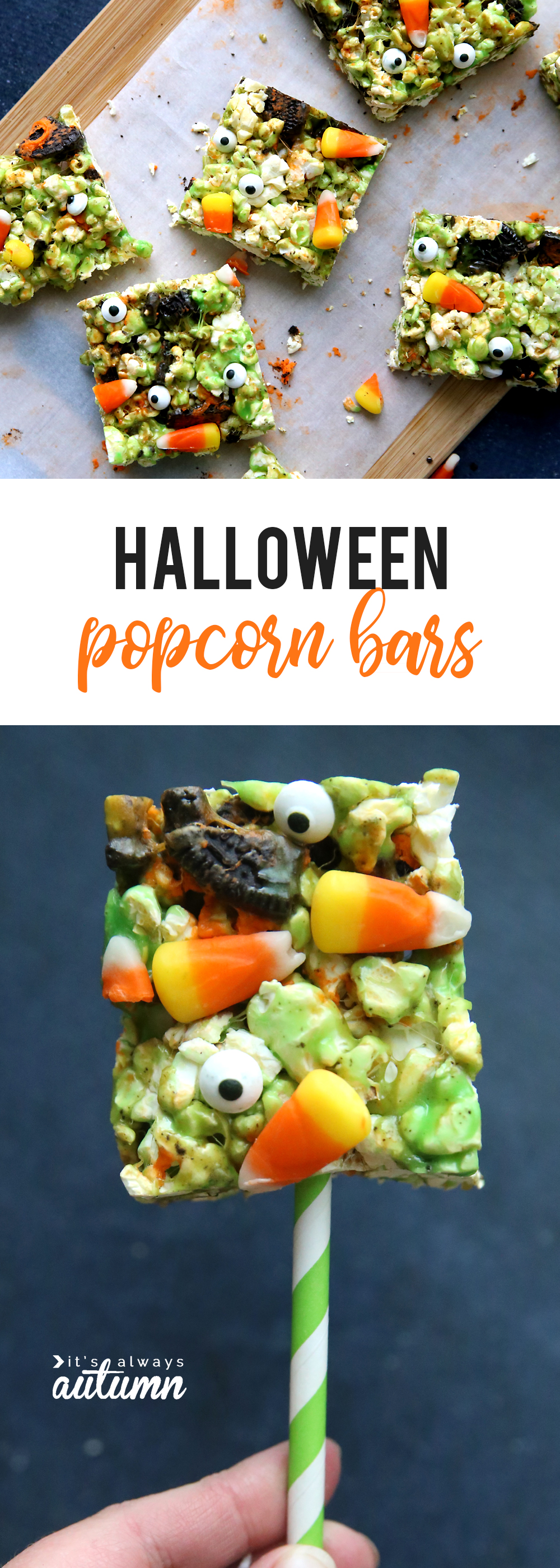 Easy halloween popcorn balls! I made them in bar form so they're even simpler. Fun Halloween treat to make with your kids.