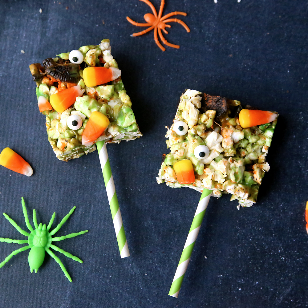 easy Halloween popcorn balls {or bars}
