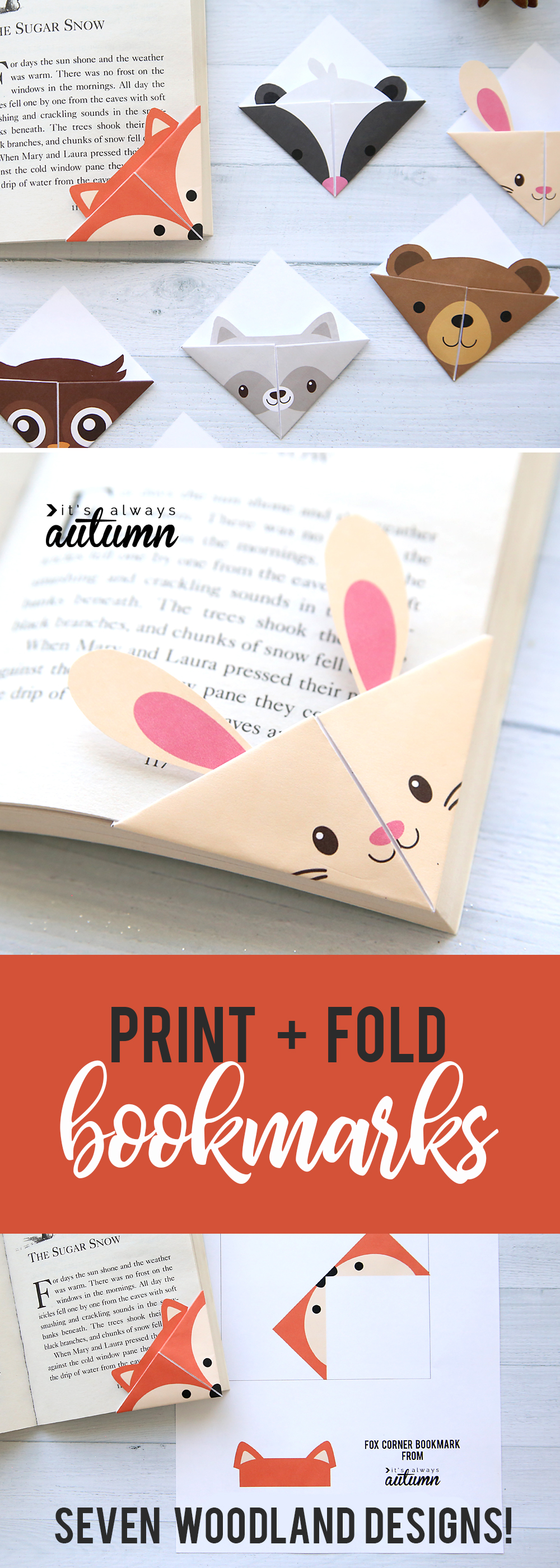 graphic about Cute Printable Bookmarks identified as Do it yourself woodland pets origami bookmarks print + fold - Its