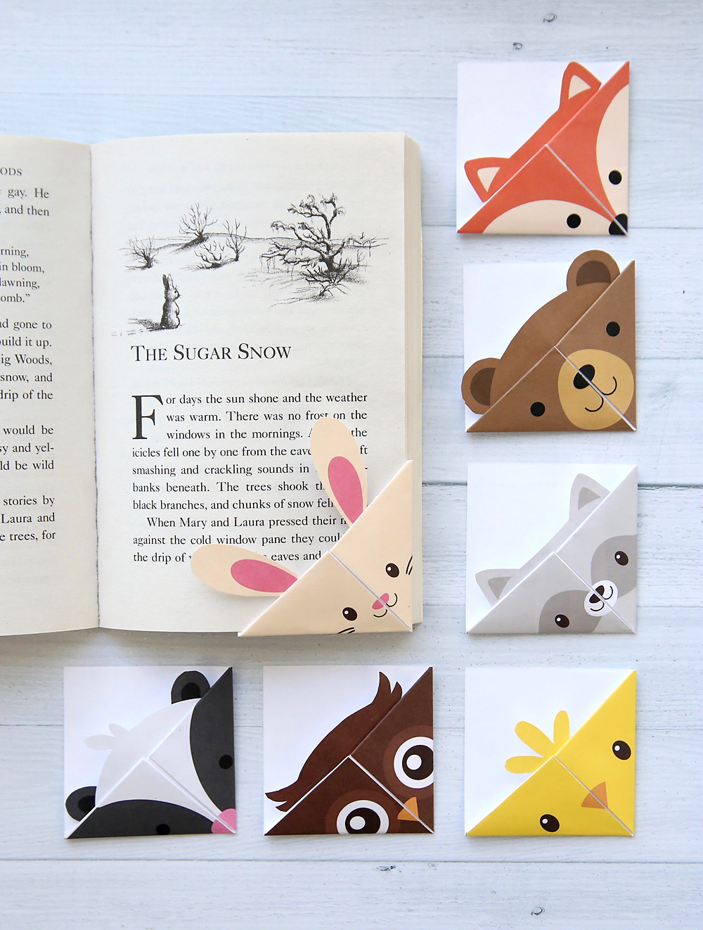 picture about Cute Printable Bookmarks called Do it yourself woodland pets origami bookmarks print + fold - Its