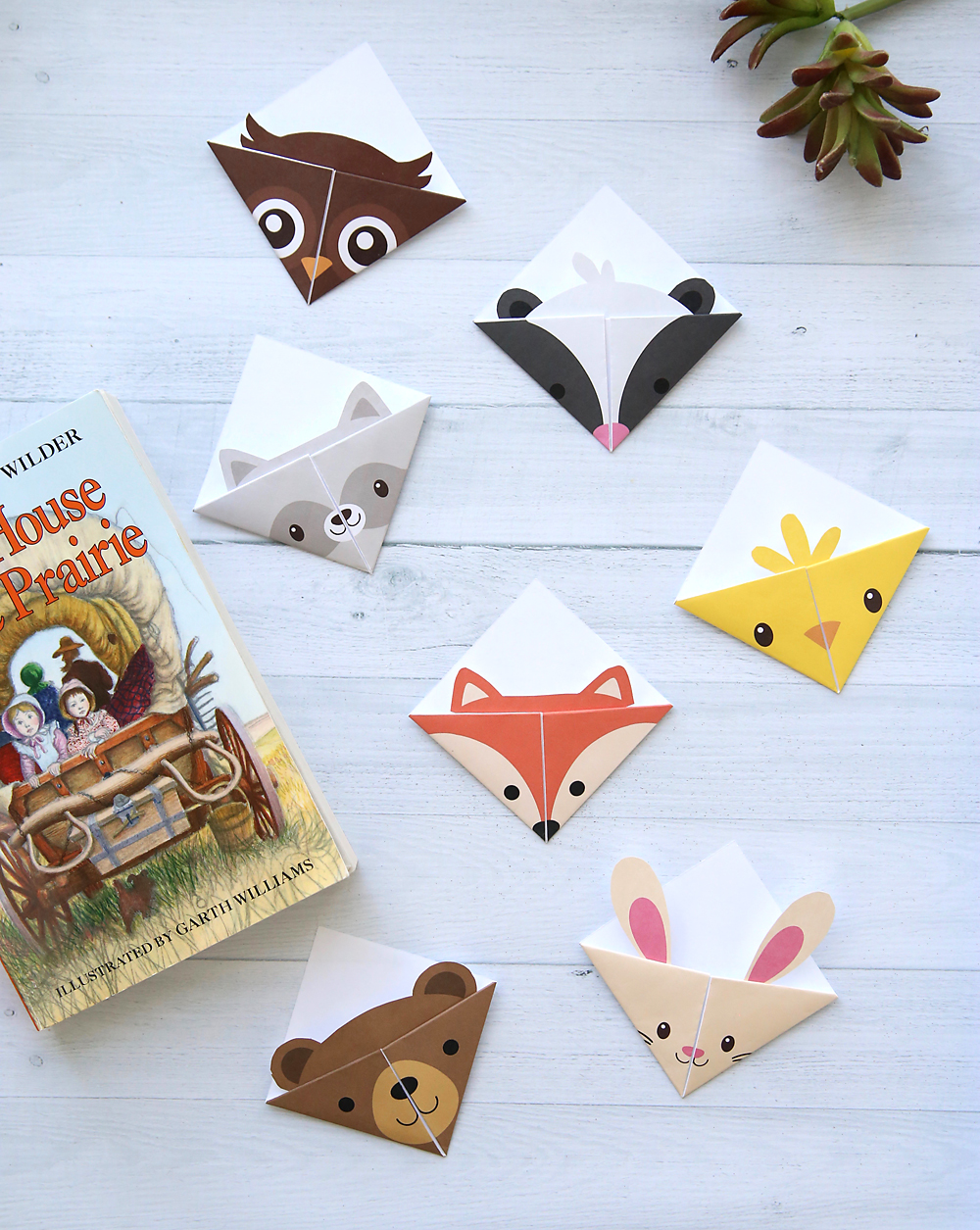 Cute Folded Bookmarks Seven Diffe Woodland Animal Origami Bookmark Templates Just Print Cut