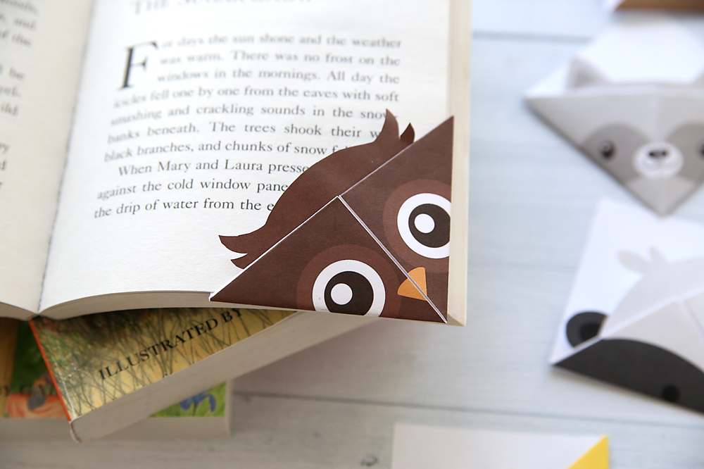 photo relating to Free Printable Corner Bookmarks named Do-it-yourself woodland pets origami bookmarks print + fold - Its