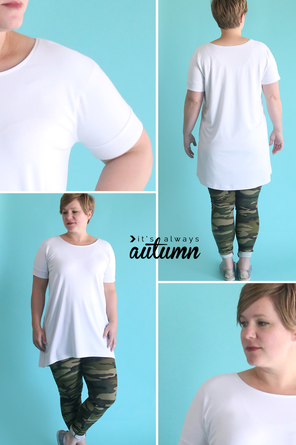 Cute tunic made from a free tee shirt pattern! How to make a long shirt to wear with leggings.