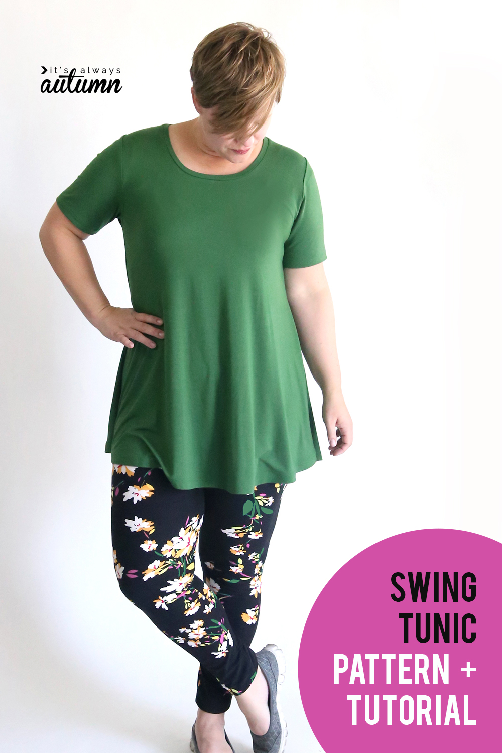 28452268bd3 Sew up a cute swing tunic to wear with your favorite leggings this fall!  Easy