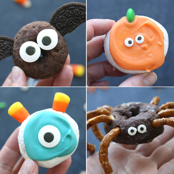 Collage of Halloween donuts