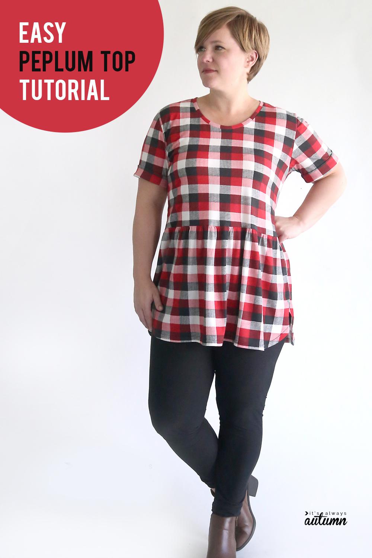 Easy peplum top sewing tutorial.
