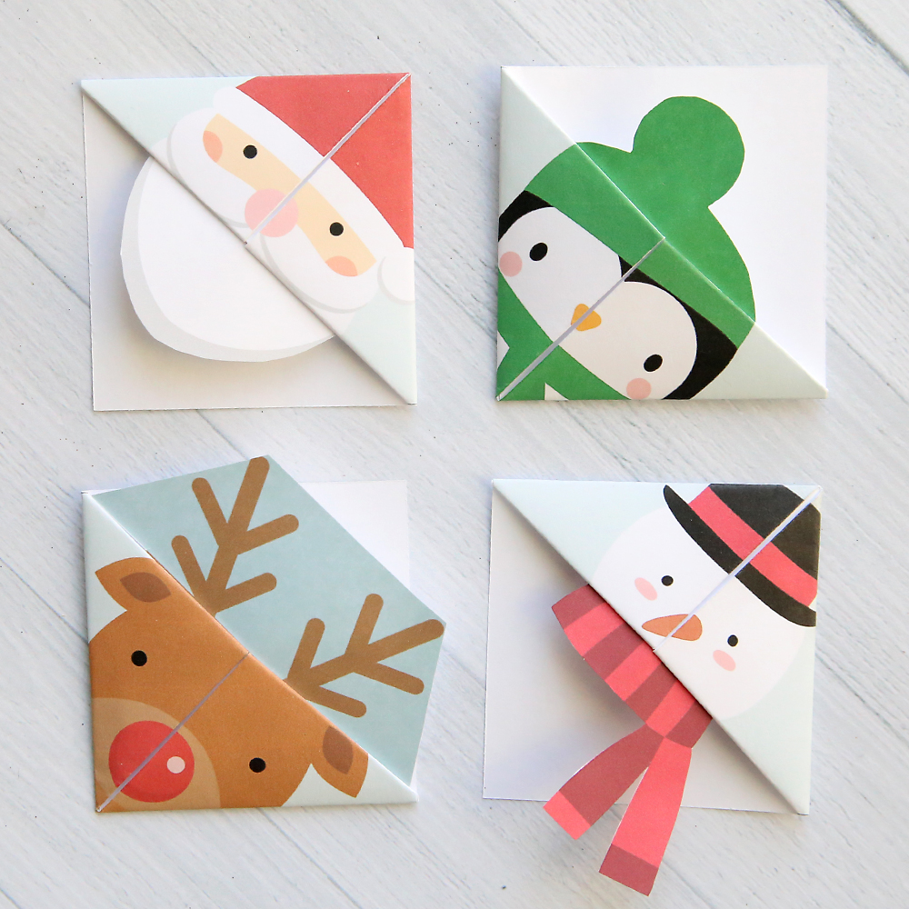 print and fold origami bookmarks in five fun christmas designs easy kids craft