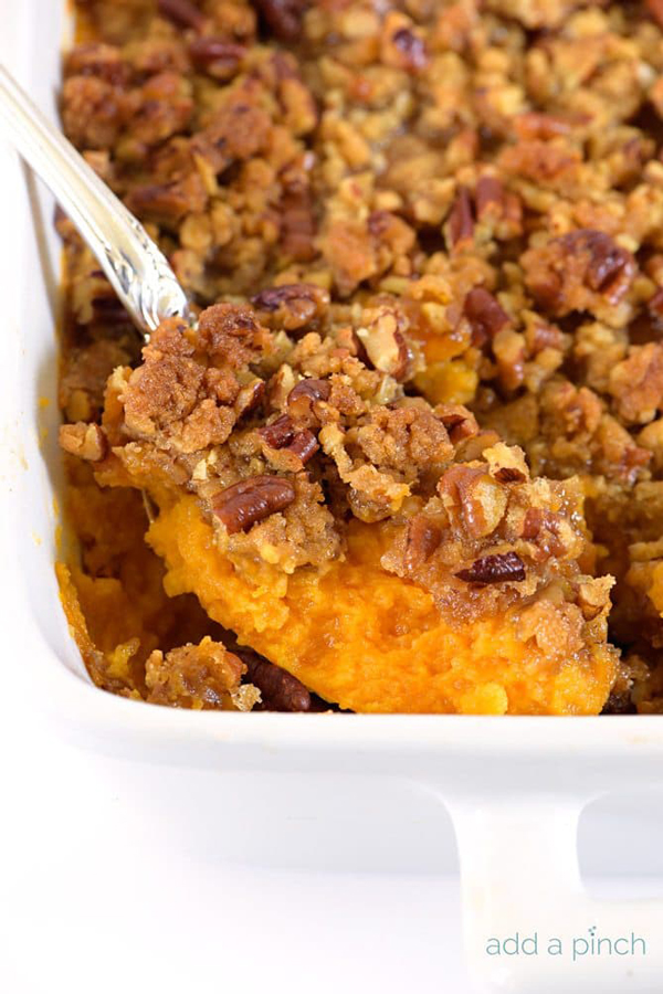 Make ahead Thanksgiving side dishes. How to make sweet potatoes in advance for Thanksgiving. Sweet potato casserole recipe.