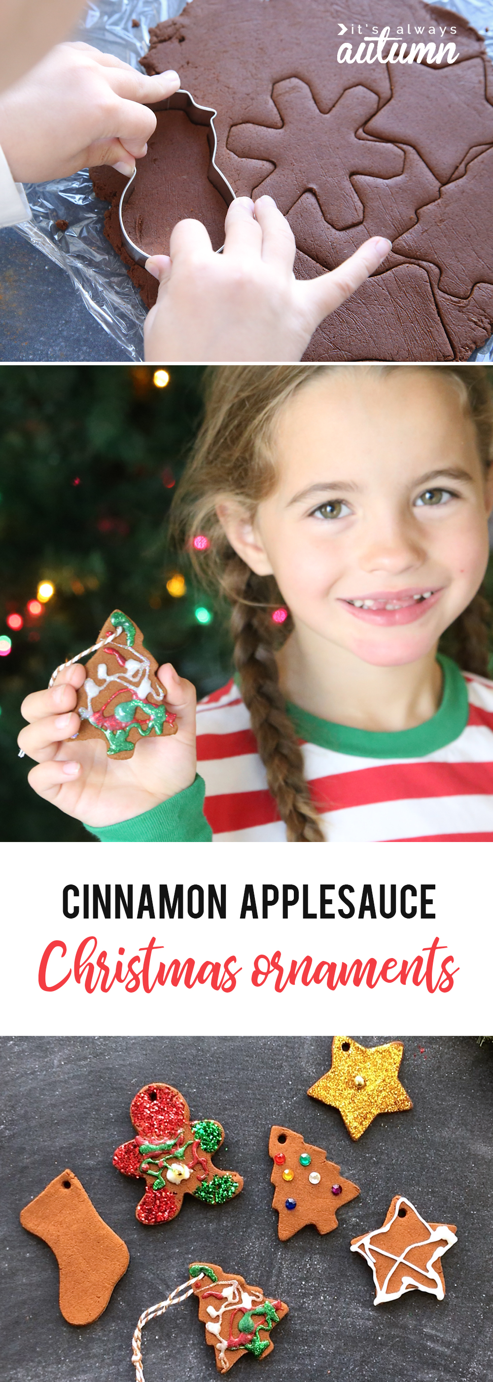 kids can make christmas ornaments out of cinnamon and applesauce and