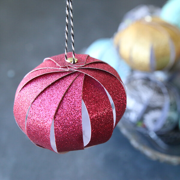 Christmas ornament made from paper strips