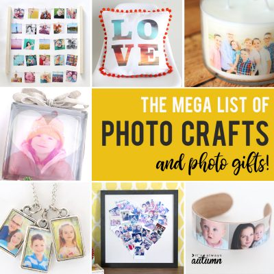 the BEST list of DIY photo crafts and photo gifts