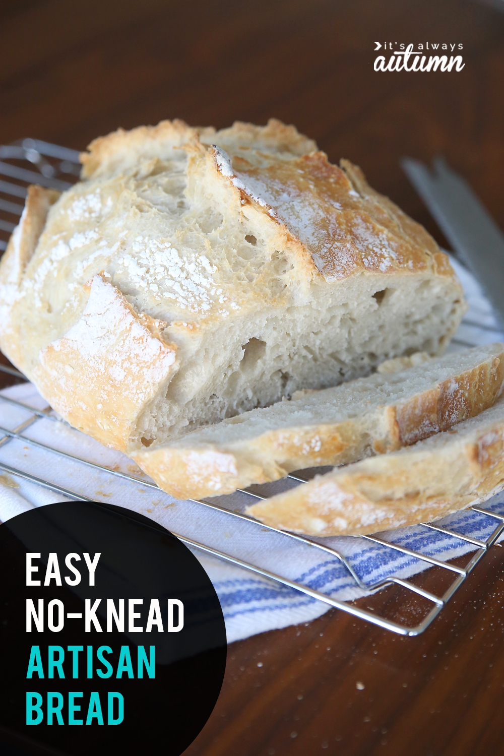 This artisan bread recipe is crazy easy to make! Only four ingredients and no kneading required. Perfect homemade bread for beginners!