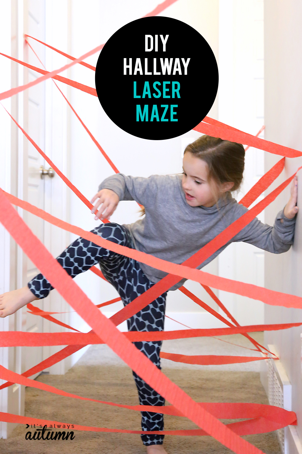 This DIY hallway laser maze is a fun, easy activity to set up for your kids. Perfect for rainy days!