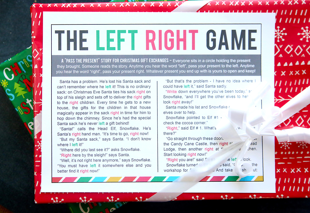 the Christmas left right game (w/printable story) - It\'s Always Autumn