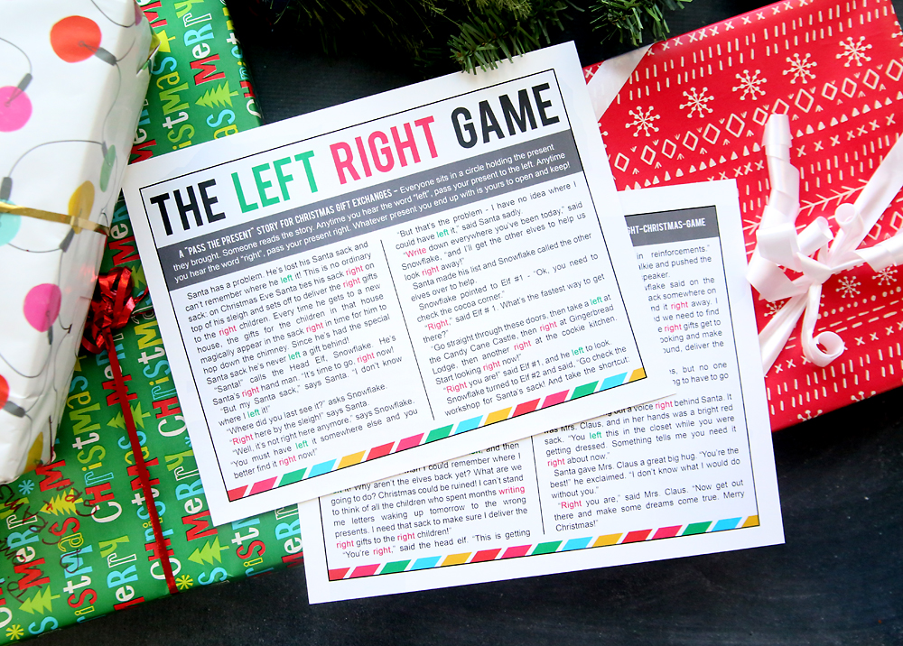 Christmas Gift Exchange Poem.The Christmas Left Right Game W Printable Story It S