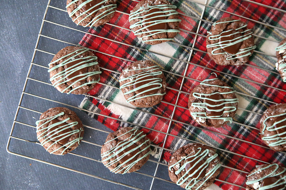 Chocolate mint truffle gooey cookies are amazing! The perfect easy recipe for Christmas cookies (or any other time year!)