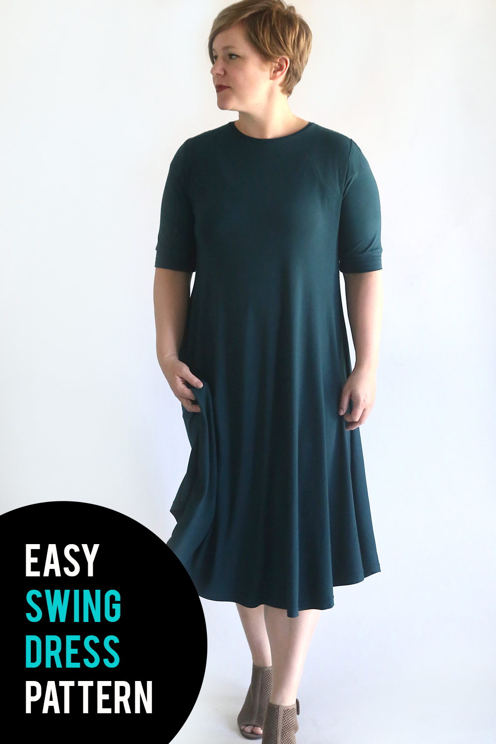 How to sew a swing dress using a free pattern. Easy sewing tutorial.
