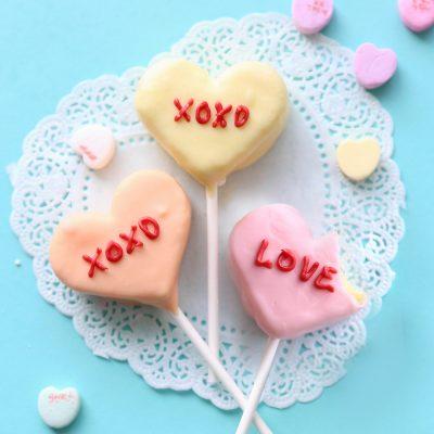 Conversation heart cake bites for Valentine's Day