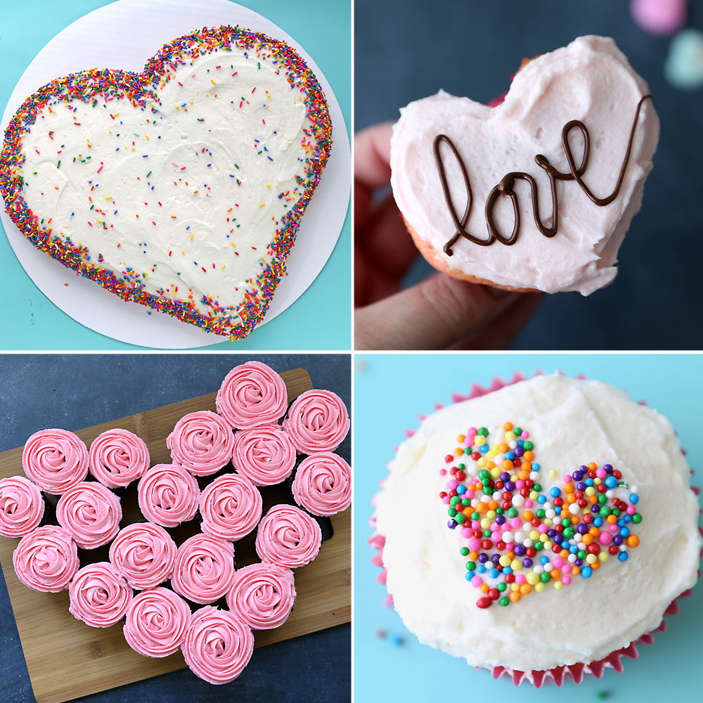 Four Different Heart Shaped Cakes For Valentines Day