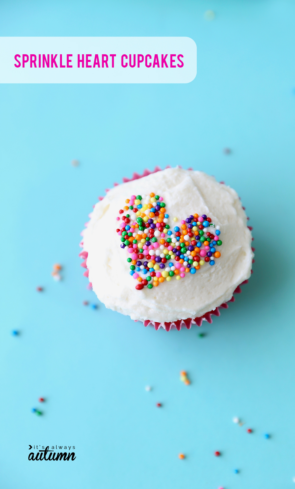 How to make cupcakes with sprinkles in a heart shape for Valentine's day.
