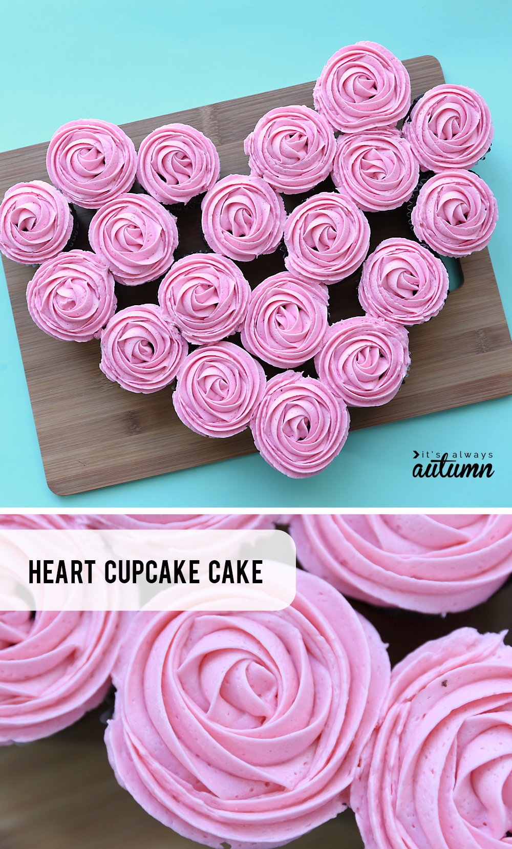 How to make a heart shaped cupcake pullapart cake for Valentine's Day! Easy Valentines treat.