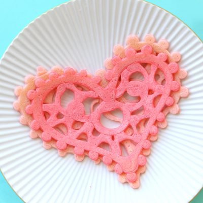 Heart shaped lace pancakes: fun + easy Valentine's Day breakfast idea