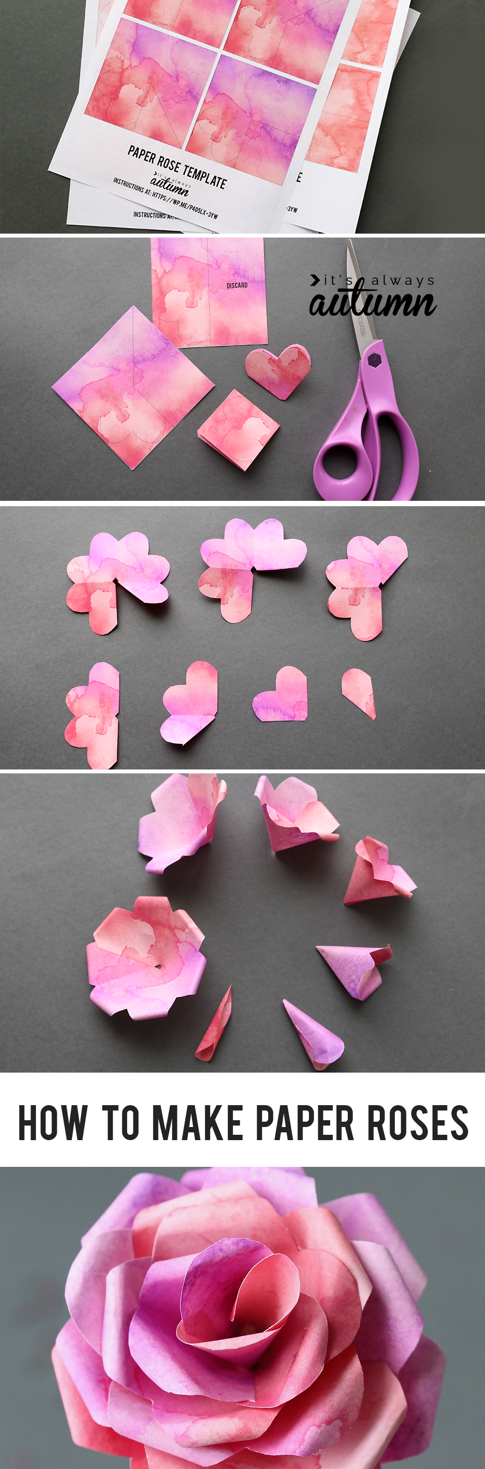 Make gorgeous paper roses with this free paper rose template its learn how to make paper roses with this beautiful paper rose template step by step mightylinksfo