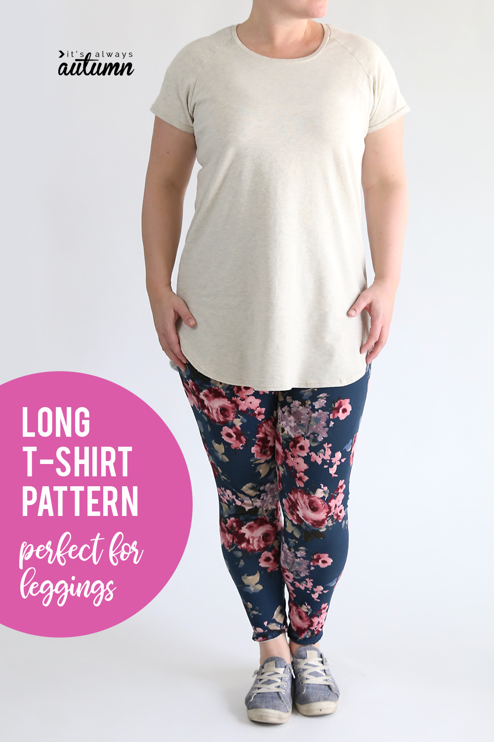 Tunic length long t-shirt sewing pattern perfect for wearing with leggings!