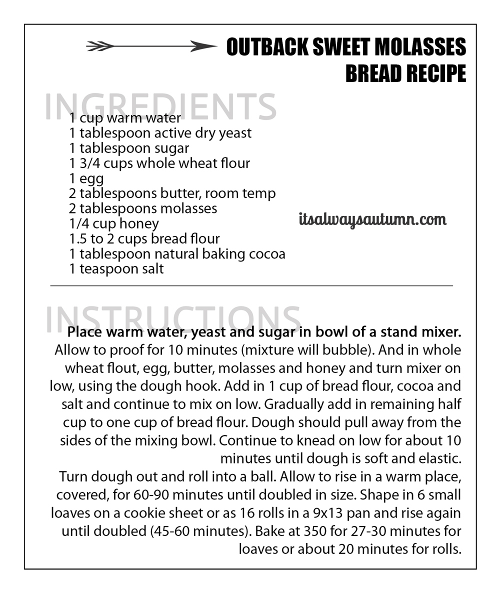 Outback bread recipe {amazing sweet molasses bread you can make at ...