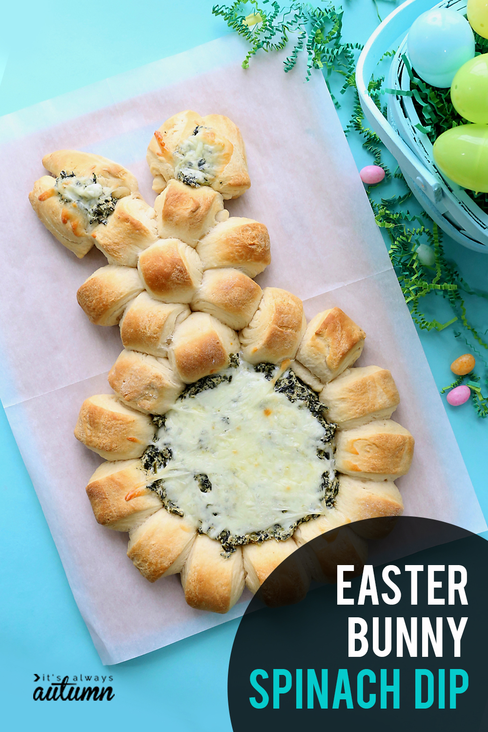 Easter Bunny spinach dip   This super easy Easter appetizer is made with refrigerated crescent dough and creamy homemade spinach dip.