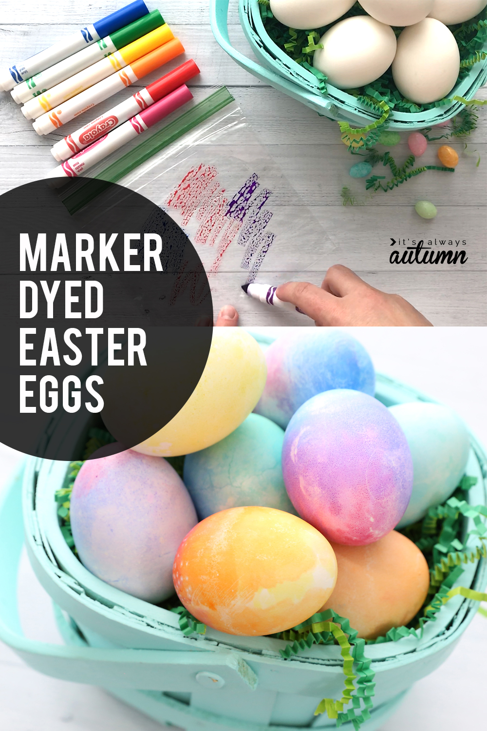 Super easy way to color easter eggs with markers instead of dye easy easter egg decorating for kids these gorgeous watercolor easter eggs are made with crayola negle Choice Image