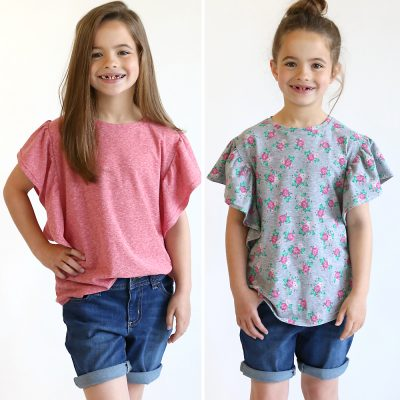 The waterfall top pattern for girls {how to sew a ruffle shirt}