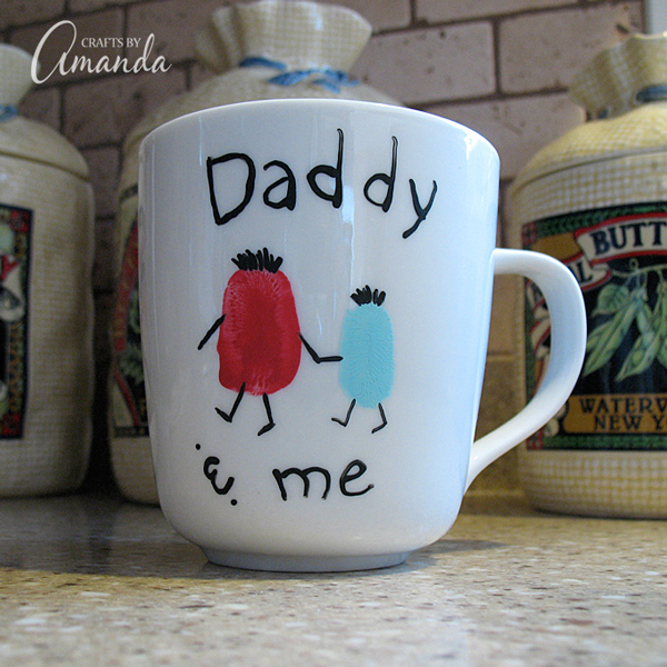 DIY fingerprint mug gift for Dad | 30 best handprint and footprint art projects
