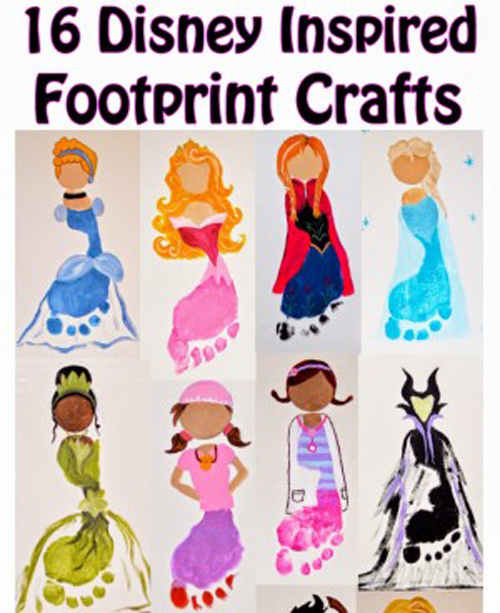 Disney princess footprint art | 30 best handprint + footprint projects