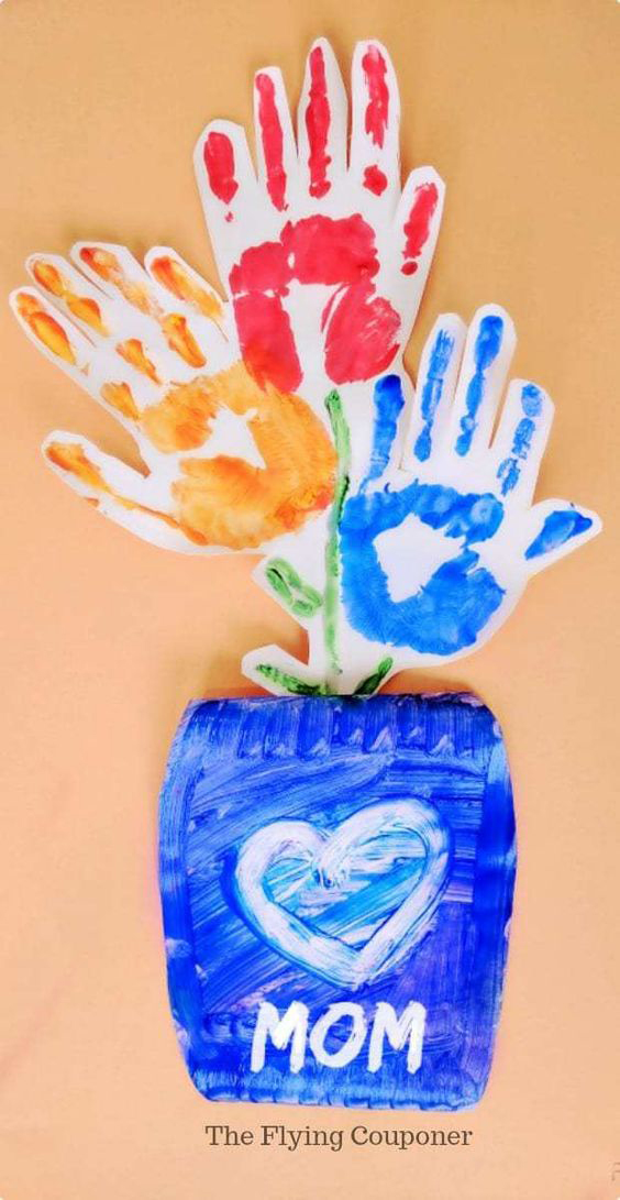 DIY handprint flowers for Mom | 30 best handprint art ideas