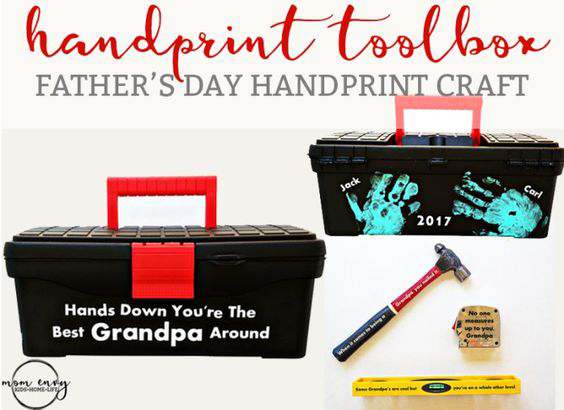 Handprint toolbox gift idea for Dad | 30 best handprint art ideas