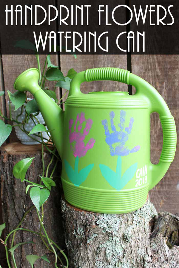 DIY handprint watering can gift idea | 30 best handprint art ideas