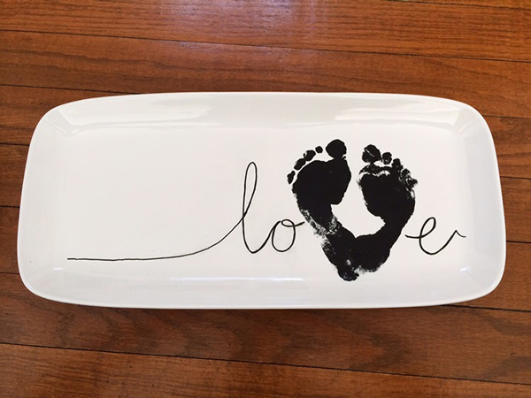 DIY footprint LOVE serving platter. DIY gift idea.
