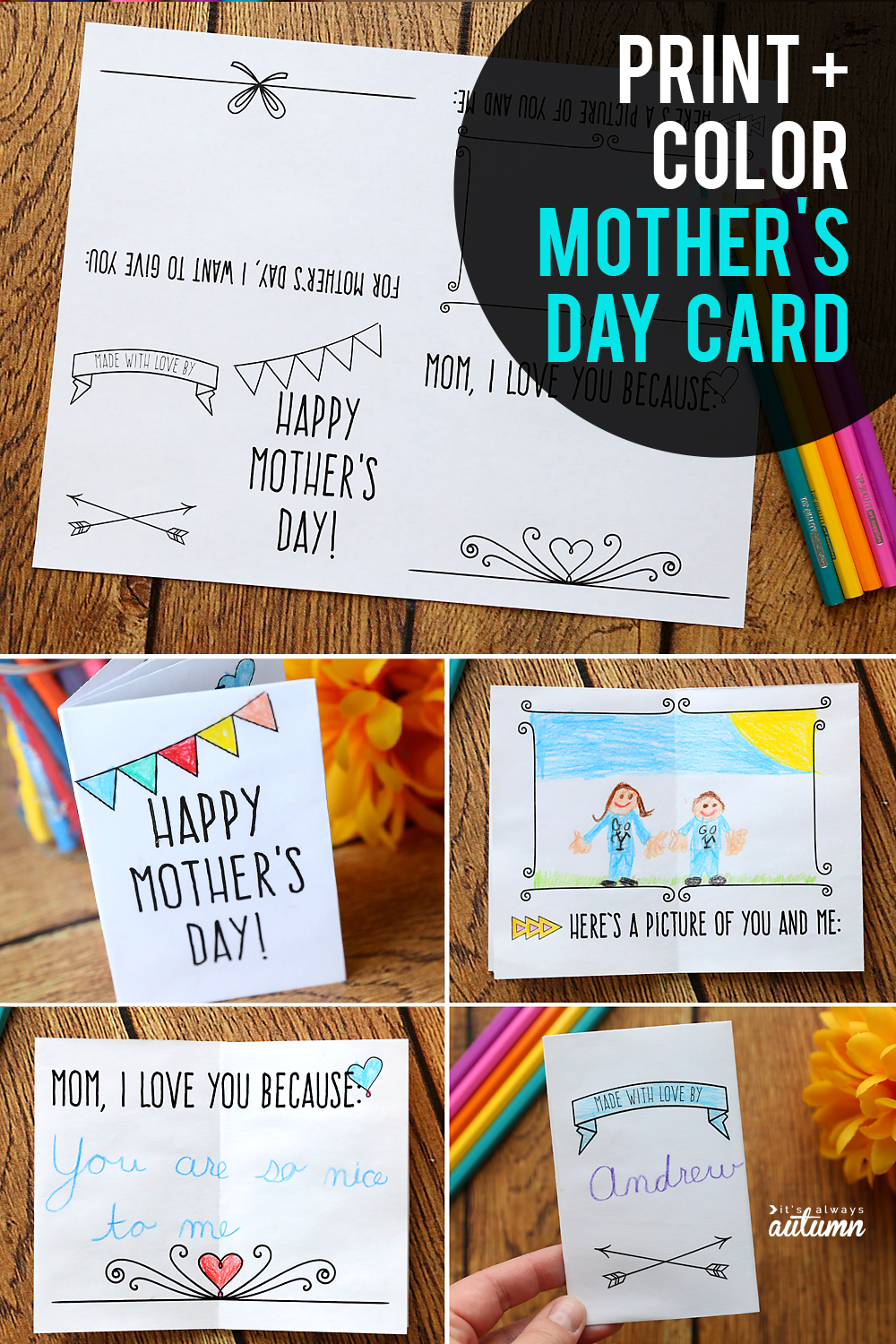Cute printable Mother's Day card that kids can color for Mom! It prints on one sheet of paper and folds up into a mini book.